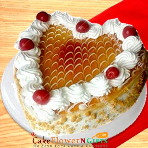 butterscotch cake heart shape