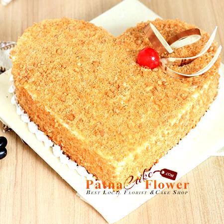 heart shape butterscotch cake