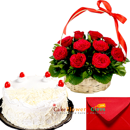 white forest cake and 15 red roses basket