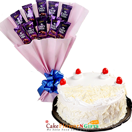 white forest cake and dairy milk chocolate bouquet