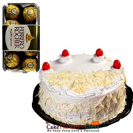 white forest cake n 16 ferrero rocher chocolate box delivery patna